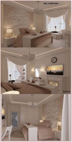 O aconchego mora aqui - Quartos e banheiros!! I would use different colors and maybe wood stained furniture, I like the words covering the headboard wall and large tv opposite, reading area is a must for the master suite!
