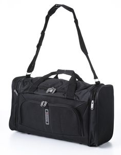 """Amazon.com: Carry On Sized Lightweight Small Luggage Cabin Holdall/Duffel Bag - 21.1"""" x 15.7"""" x 7.8"""" Ideal for Weekend Trips and Overnight Stays. Large Sports/Gym Duffle Bag with Ripstop Material and Shoulder Strap.(Black 602): Clothing"""