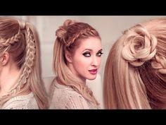 Tuto coiffure queue de cheval ❤ Fleur de cheveux tressé pour soirée/mariage - YouTube