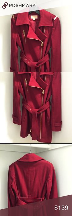Michael Kors Asymmetrical Deep Red Peacoat Michael Kors Aysmmetrical Deep Red Peacoat with Gold Detailing. In Perfect Preworn condition. Warm and cozy for winter with zipper, wrap around belt and satin lining. No Trades/ No Modeling/ Reasonable Offers. Michael Kors Jackets & Coats Pea Coats
