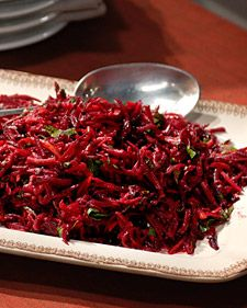 Grated Beet Salad - Martha Stewart Recipes Add grated carrots; use agave instead of sugar Spaghetti, Beef, Ethnic Recipes, Food, Meat, Ox, Eten, Hoods, Meals
