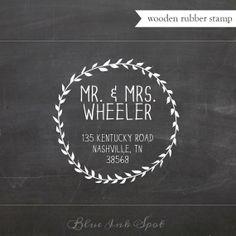 Organic Wreath  Custom Wooden Rubber Stamp  Wedding by blueinkspot, $21.95