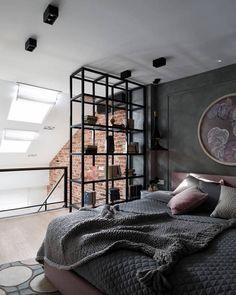 Black Metal Bookcase in Industrial Bedroom Decor loft via Annalena design studio Modern House Design, Modern Interior Design, Style Loft, Industrial Bedroom, Cool Rooms, Home Decor Bedroom, Design Bedroom, Bedroom Ideas, Interiores Design