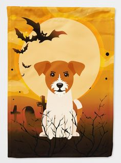 Halloween Jack Russell Terrier Flag Canvas House Size BB4374CHF