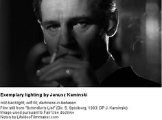 Use of backlight and fill light in a shot from 'Schindler's List' - Directed by Steven Spielberg, DP Janusz Kaminski