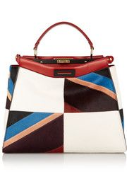 FendiPeekaboo large leather-trimmed patchwork calf hair tote