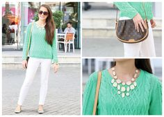 EW's Fashion and Beauty Assistant Alexandra, heads out to a meeting in one of our favourite hues of the season, bright green. Working a statement sparkly necklace, this is the perfect look to carry on through spring into summer.