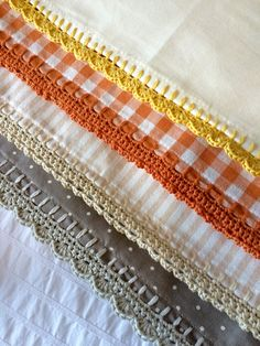 pretty crocheting edging with Kate Eastwood from the Just Pootling blog! Adding pretty crochet ...