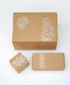 Silver pen + brown paper = nice giftwrap!