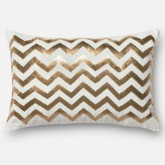 """Sequin Gold/ White Chevron Down Feather or Polyester Filled Throw Pillow or Pillow Cover (13"""" x 21"""")"""