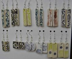 Rhonda Uppington Selection of earrings to go with my ceramic pendants. These ones are destined for The Clay and Glass gift shop in Waterloo. More are in the works for the Arts and Crafts Festival in Haliburton the last weekend in July. Ceramic Pendant, Pottery Art, Arts And Crafts, Clay, Pendants, Ceramics, Earrings, Shop, Gifts