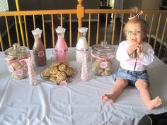 """Milk and Cookies""  theme for 1 year old party, perfect for little girls"