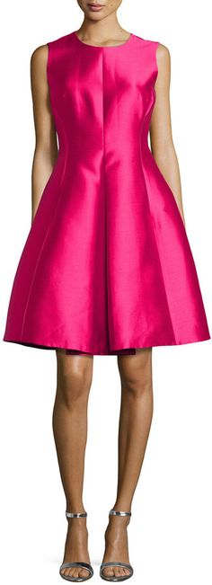 $156, Hot Pink Satin Party Dress: Kate Spade New York Classic Fit And Flare Dress. Sold by Neiman Marcus. Click for more info: https://lookastic.com/women/shop_items/228730/redirect