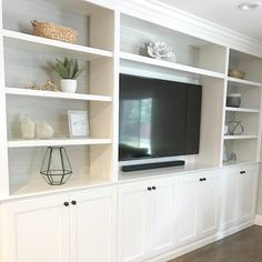 Recessed TV Built-Ins - House in living room around tv Recessed TV Built-Ins - House Built In Tv Wall Unit, Built In Shelves Living Room, Tv Built In, Living Room Wall Units, Ikea Living Room, Built In Bookcase, Living Room Designs, Built In Media Center, Ikea Tv Wall Unit