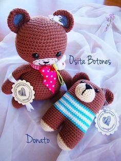 Osito Donato de Lanukas, sonajero para bebés (Maria Martinez Amigurumi, muñecos de crochet hechos a mano
