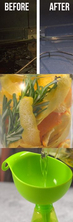 1. Peel an Orange and Lemon. 2. In a mason jar combine orange peel, lemon peel, and distilled vinegar. You can also add rosemary to remove the vinegar smell. 3. Let the ingredients infuse in the mason jar for five days. Then using a funnel pour liquid into a spray bottle. 4. When you're ready to clean your oven apply baking soda to the spots in your oven you wish to clean. Spray your natural oven cleaner on the baking soda. It should start to fizz or bubble. 5. Wait 20 minutes before wiping…