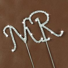 "Crystal Monogram Topper - Small - ""MR"""