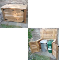 The box Peter built to store green bin and garbage can in outside during summer - should be racoon-proof. It can be opened from the top or front only or both. Trés cool.