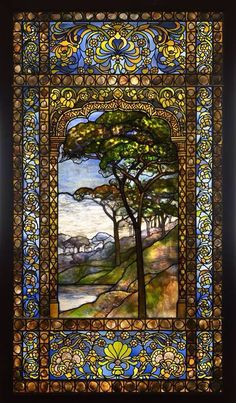 LOUIS COMFORT TIFFANY LANDSCAPE STAINED GLASS WINDOW ~ 1893-1920, Photographed by John Faier, The Driehaus Museum.