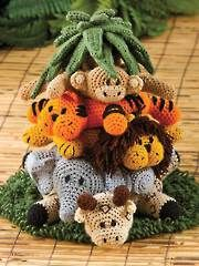 Into the Jungle | Jungle Animals and Palm Tree | Staking Rings | Amigurumi | Crochet Toys | Free Pattern | Giraffe Elephant Lion Tiger Monkey Palm Tree | Baby Toy