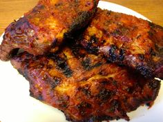 Paleo slow cooked and grilled barbecue ribs