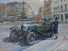 "Alan Fearnley's paintings are ""car paintings"" in as much as they happen to contain cars, but they are not portraits of cars per se. Oil Painting Basics, Oil Painting For Sale, Car Painting, Paintings For Sale, Painting & Drawing, Painting Classes, Vintage Cars, Antique Cars, Film Inspiration"