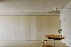 """dezeen: """"Tokyo apartment by Minorpoet features kitchen hidden behind folding doors Tokyo Apartment, Japanese Apartment, Apartment Renovation, Apartment Interior Design, Wooden Partitions, Journal Du Design, Boffi, Appartement Design, Hidden Kitchen"""