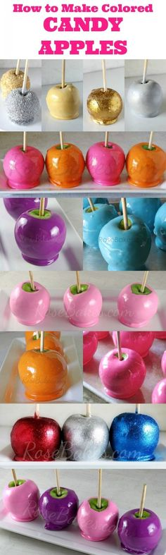 How to Make Colored Candy Apples Candy Apples! This post covers how to make candy apples any color. plus white, glittery, splattered, bright, flavored and much more plus a scratch recipe Just Desserts, Delicious Desserts, Yummy Food, Camping Desserts, Sweet Desserts, Cupcakes, Cupcake Cakes, Colored Candy Apples, Candy Recipes