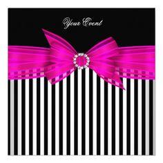 All Occasion Hot Pink Black White Stripe Party Custom Invite by Zizzago.com