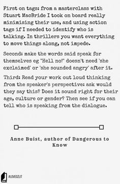 Anne Buist talks about the practicalities of writing and dialogue, with some excellent advice on the little things you can forget about. Read more #LoveOzLit: Anne Buist on the practicalities of dialogue http://editingeverything.com/blog/2016/04/25/loveozlit-anne-buist-practicalities-dialogue/