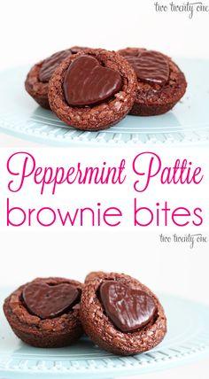 Super easy peppermint pattie brownie bites!