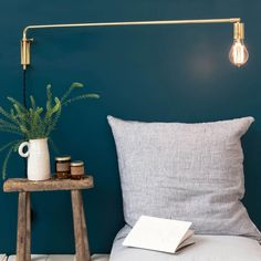 In love with : la lampe potence Le Petit Florilège (Frenchy Fancy) Interior Plants, Interior And Exterior, Interior Design, Deco Luminaire, House Yard, Dark Walls, Painted Floors, Deco Design, Home Bedroom