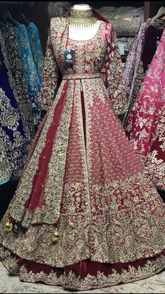 Maroon Bridal Lacha - Maroon velvet skirt and raw silk jacket with gold crystals , zardosi and sequin embroidery Lacha Fabric – Velvet , Raw silk Jacket – Chest , Length 60 Skirt – waist , length Source by - Asian Bridal Dresses, Asian Wedding Dress, Pakistani Wedding Outfits, Indian Gowns Dresses, Indian Bridal Outfits, Pakistani Wedding Dresses, Pakistani Gowns, Pakistani Bridal Couture, Designer Bridal Lehenga