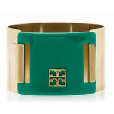 Tory Burch Pinched Logo Clasp Bangle ($150) ❤ liked on Polyvore