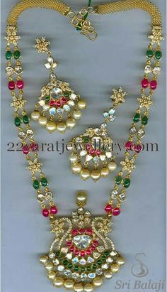 Jewellery Designs: Two Strings Uncut Beads Haram Stone Jewelry, Pearl Jewelry, Gold Jewelry, Beaded Jewelry, Handmade Jewelry, Beaded Necklace, Gold Necklace, Necklaces, Diamond Earrings Indian