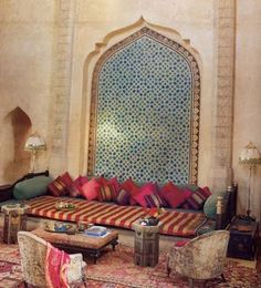 elle decor bohemian living the splash of pink in cushions make this room more jewel like! Moroccan Design, Moroccan Style, Moroccan Theme, Moroccan Lounge, Moroccan Room, Moroccan Colors, Moroccan Inspired Bedroom, Modern Moroccan Decor, Morrocan Decor