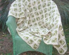 Vintage Hand Made AFGHAN Granny Squares Crocheted Blanket Cottage Style Throw Farmhouse Bedding