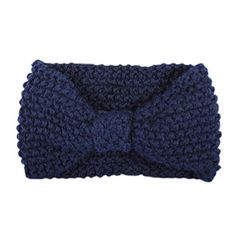 TOOGOO(R) Crochet Flower Bow Knitted Head wrap Headband Hair Band (Navy) -- More info could be found at the image url. #hairtreatment