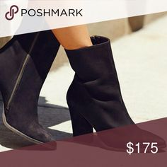 "Free People Black Leather Boot Black sleek leather silhouette that will have you stepping out in style.   Zip closure Pointed toe Platform Height 1"" Heel 3.75"" Shaft Height 7"" Free People Shoes Ankle Boots & Booties"