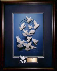 DovesII limited edition print framed with optional engraved plate and miniature sculpture