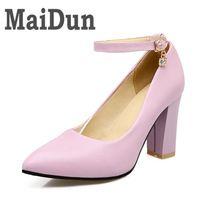 Footwear Plus Size 32-43 Women Pumps Fashion Elegant Pointed Toe Buckle Sqaure High Heels Woman Shoes Black Beige Pink Color