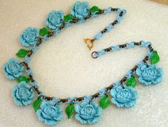Vintage celluloid early plastic blue roses & by ThePlasticFever