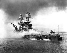 Battleship USS Nevada beached at Pearl Harbor, 7 Dec 1941.