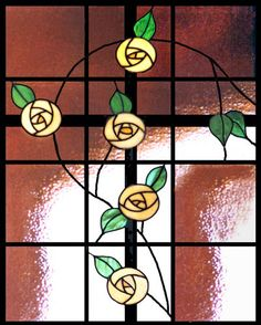 Mackintosh Stained Glass Cross like the roses without the cross