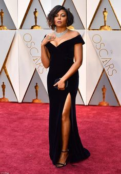 Absolutely stunning: Taraji P Henson looked incredible in a bombshell purple velvet Albert...