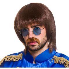 Our adult men's Beatles Pop Wig, moustache and glasses set. 1960s Fancy Dress, Fancy Dress Wigs, Halloween Fancy Dress, 1960s Costumes, Wicked Costumes, Fancy Dress Glasses, I Am The Walrus, Hippie Costume, Moustache