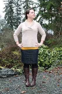 Fall sweater, mustard yellow tank, jean skirt and boots