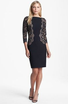 Tadashi Shoji Lace & Jersey Sheath Dress (Regular & Petite) available at #Nordstrom  There again, if it were any color but black...