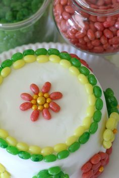 A birthday cake decorated in jelly beans! Simple but beautiful. See more party ideas at CatchMyParty.com.
