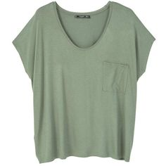MANGO Pocket T-Shirt ($20) ❤ liked on Polyvore featuring tops, t-shirts, short sleeve tee, short sleeve t shirts, pocket tops, green t shirt and green top